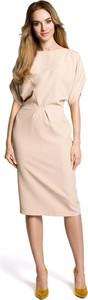Sukienka MOE z okrągłym dekoltem midi