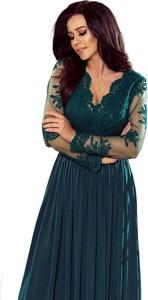 Zielona sukienka NUMOCO maxi rozkloszowana