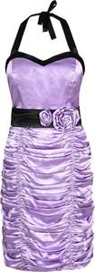 Fioletowa sukienka Fokus z krótkim rękawem