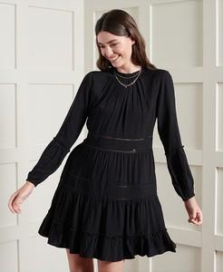 Sukienka Superdry z długim rękawem z okrągłym dekoltem mini