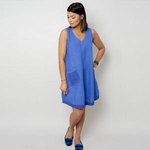 Niebieska sukienka Willsoor z dekoltem w kształcie litery v z lnu