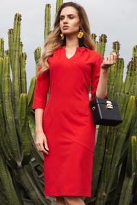 Czerwona sukienka MOE ołówkowa midi z dekoltem w kształcie litery v