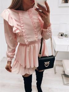 Różowa sukienka magmac.pl z długim rękawem mini