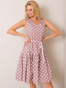 Sukienka Sheandher.pl rozkloszowana z lnu z dekoltem w kształcie litery v
