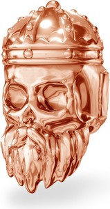 GIORRE Srebrny koralik zawieszka charms CZASZKA króla srebro 925 : Kolor pokrycia srebra - Pokrycie Różowym 18K Złotem