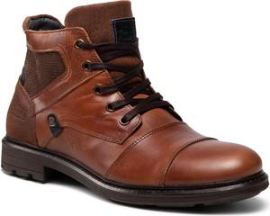 Brązowe buty zimowe Bullboxer ze skóry ekologicznej