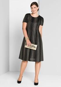 Sukienka Sheego midi z krótkim rękawem z okrągłym dekoltem