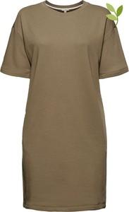 Brązowa sukienka Esprit w stylu casual z krótkim rękawem
