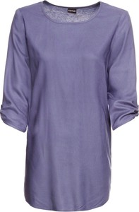 Fioletowa bluzka bonprix BODYFLIRT z długim rękawem z dżerseju z okrągłym dekoltem