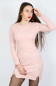 Różowa sukienka Olika mini z długim rękawem