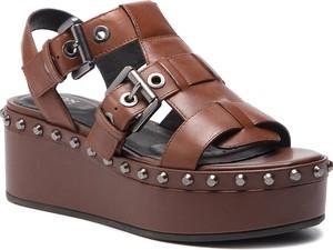 Sandały Geox ze skóry na średnim obcasie