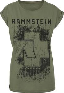 Zielony t-shirt Rammstein z bawełny