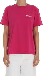 Różowy t-shirt MSGM z krótkim rękawem z okrągłym dekoltem