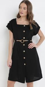 Czarna sukienka born2be mini z okrągłym dekoltem z krótkim rękawem