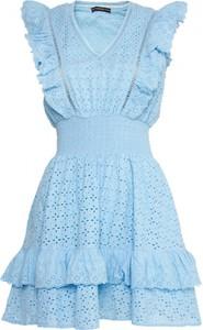 Niebieska sukienka Guess bez rękawów mini z bawełny