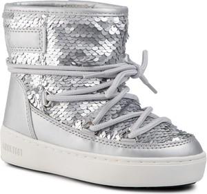 Srebrne buty dziecięce zimowe Moon Boot sznurowane
