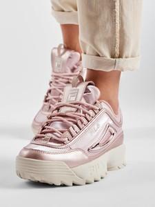 Różowe buty sportowe Fila sznurowane disruptor