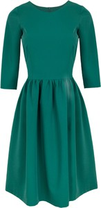 Zielona sukienka Makover z tkaniny midi z długim rękawem