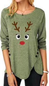 Zielona bluzka Sandbella w bożonarodzeniowy wzór z długim rękawem