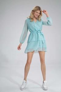Turkusowa sukienka Figl mini z długim rękawem z szyfonu