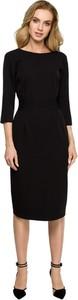 Czarna sukienka Style midi z długim rękawem ołówkowa