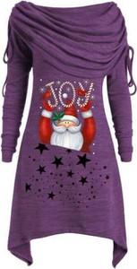 Fioletowa sukienka Cikelly mini z długim rękawem