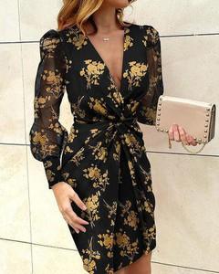 Sukienka Kendallme kopertowa mini z długim rękawem