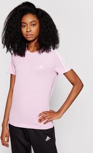 Bluzka Adidas z krótkim rękawem z okrągłym dekoltem w sportowym stylu