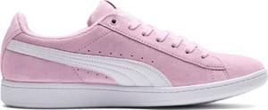 Różowe buty sportowe Puma z płaską podeszwą sznurowane vikky