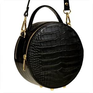 Czarna torebka Borse in Pelle średnia na ramię z tłoczeniem