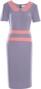 Fioletowa sukienka Fokus z tkaniny z kołnierzykiem