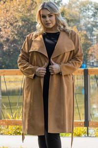Płaszcz KARKO z zamszu w stylu casual bez kaptura