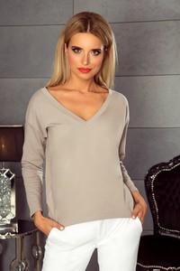 Brązowa bluzka TAGLESS w stylu casual z dekoltem w kształcie litery v