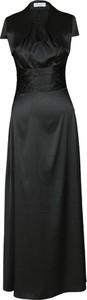 Czarna sukienka Fokus maxi z krótkim rękawem