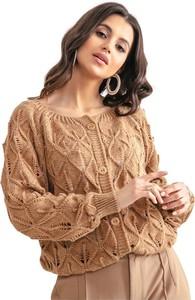 Brązowy sweter Fobya w stylu casual
