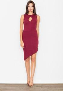 Różowa sukienka sukienki.pl bez rękawów midi z dekoltem typu choker
