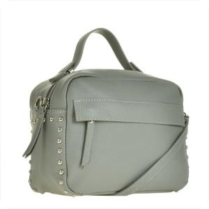 Borse in pelle elegancka torebka listonoszka kuferek popielata z ćwiekami
