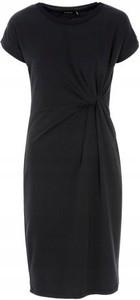 Czarna sukienka Ochnik z krótkim rękawem midi z okrągłym dekoltem
