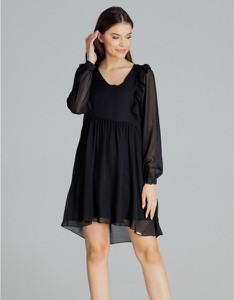 Czarna sukienka LENITIF mini z szyfonu