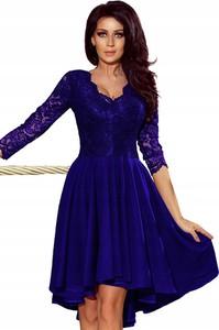 Niebieska sukienka NUMOCO z długim rękawem