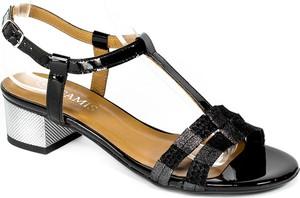 Czarne sandały Gamis na obcasie ze skóry