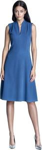Niebieska sukienka Nife midi bez rękawów
