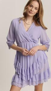 Fioletowa sukienka Renee mini z długim rękawem trapezowa
