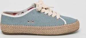 Niebieskie trampki Emu Australia sznurowane z płaską podeszwą z tkaniny