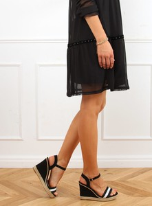 Czarne sandały Buty Damskie z klamrami