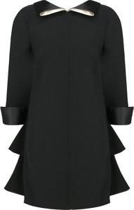 Czarna sukienka Elisabetta Franchi z okrągłym dekoltem mini z długim rękawem