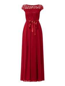 Czerwona sukienka Swing maxi rozkloszowana z krótkim rękawem