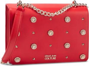 Czerwona torebka Versace Jeans na ramię zdobiona