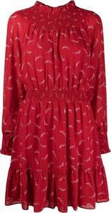 Czerwona sukienka Michael Kors z długim rękawem mini w stylu casual
