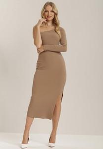 Brązowa sukienka Renee midi z długim rękawem